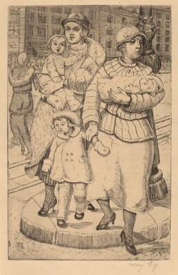 Women and Children Crossing the Street