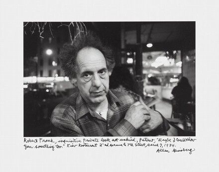 Robert Frank, inquisitive private look not unkind, patient, Maybe I could show you something too. Kiev Restaurant, 2'nd Avenue & 7th Street, March 7, 1984.