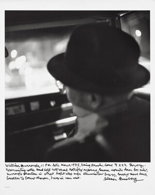 William Burroughs, 11 PM late March 1985, being driven home to 222 Bowery. Experimenting with hand held half-second Rolleiflex exposure, camera upside down for view, Burroughs phantom in street light stop sign illumination fuzzy, couldn't move back further to focus sharper, I was in rear seat.