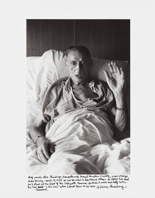 """My uncle Abe Ginsberg, Daughters of Israel Geriatric Facility, West Orange, New Jersey, April 13, 1986. He was too weak to sip from a straw. He lifted his hand as I stood at the foot of the bed with camera. He died a week and half later. He had whispered, """"I love you"""" when I first came in his room."""