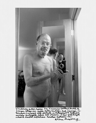 Wandering Motel rooms San Francisco Portland Seattle & Kenyon College one month, poetry readings, book signings, interviews, I snapped self-portraits in clothes closet & bathroom mirrors midnights before bed whenever I saw full length views & doubled reflections. Sometime September 1991.
