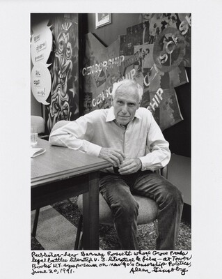Publisher-hero Barney Rossett whose Grove Press legal battles liberated U.S. literature & film — at Tower Books' N.Y. symposium on new 90's Censorship Politics, June 20, 1991.