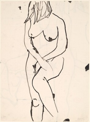 Untitled [standing nude with her hands crossed in front of her] [verso]