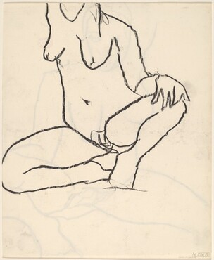 Untitled [seated female nude with raised right arm] [verso]