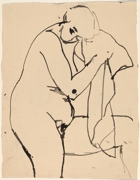 untitled [female nude holding cloth] [verso]
