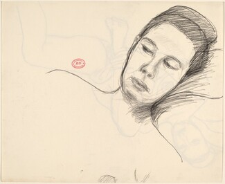 Untitled [reclining female nude grasping left ankle] [verso]