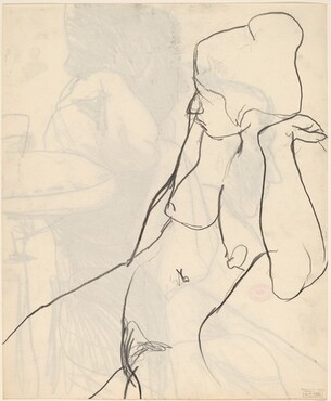 Untitled [female nude in profile] [verso]