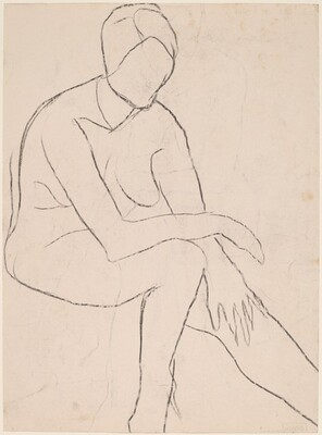 Untitled [seated female nude resting arm on left knee] [verso]