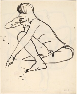 Untitled [seated female nude reaching with left hand] [verso]