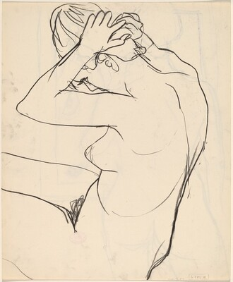 Untitled [nude fixing her hair] [verso]