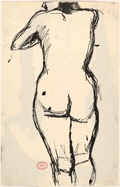 Untitled [back view of standing nude with her left arm raised] [verso]