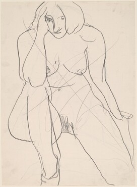 Untitled [front view of female nude kneeling on one leg] [verso]