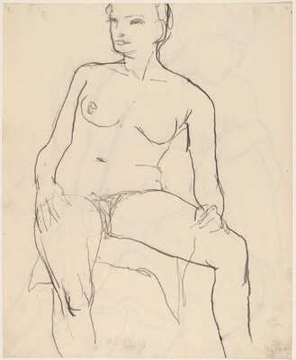 Untitled [seated nude turning her head to the right] [verso]