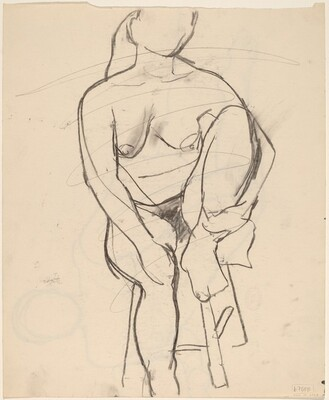 Untitled [seated nude with her left foot retracted onto stool seat] [verso]