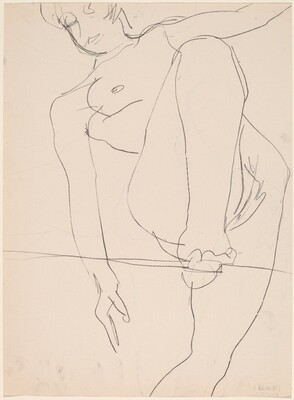 Untitled [female nude balancing on line] [verso]