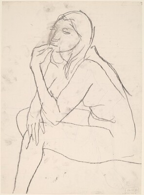 Untitled [seated female nude with left hand on chin] [verso]