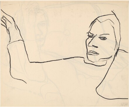 Untitled [woman with arm raised] [verso]