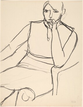 Untitled [seated model with her left hand to her mouth] [verso]