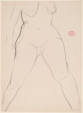 Untitled [frontal view of female nude from breasts to ankles] [verso]
