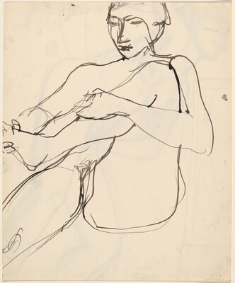Untitled [seated female nude holding her left foot] [verso]