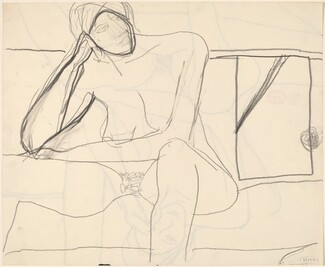 Untitled [seated nude resting her head upon her right hand] [verso]