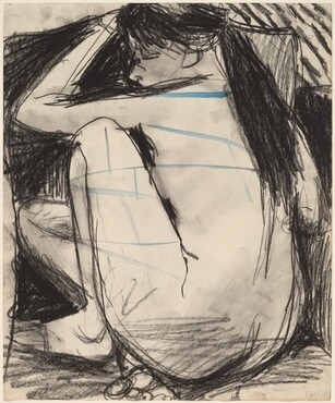 Untitled [seated female nude with limbs drawn close] [verso]