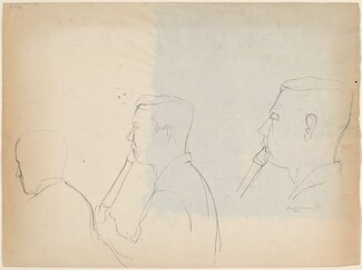 Untitled [three studies: head of a man playing a wind instrument] [verso]