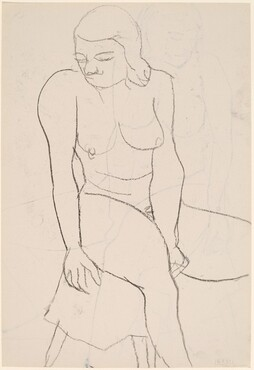 Untitled [seated female nude looking left] [verso]