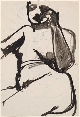 Untitled [back view of a female nude holding a basket] [verso]
