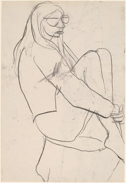 Untitled [seated woman with long hair and glasses] [verso]