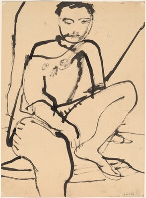Untitled [seated figure with bare shoulder] [verso]