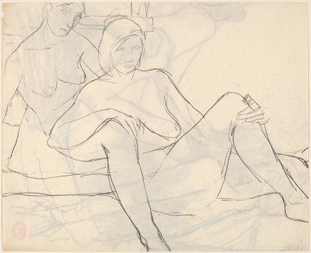 Untitled [two female nudes resting together] [verso]