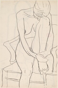 Untitled [seated nude with resting her head on her knee] [verso]