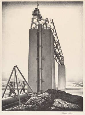 Untitled (Laying Pipe Section Over a Bridge)