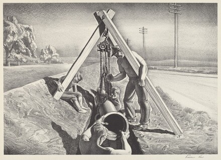 Untitled (Workmen Lowering Pipe Section into a Ditch)
