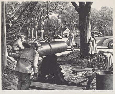 Untitled (Laying pipe in a New England town)