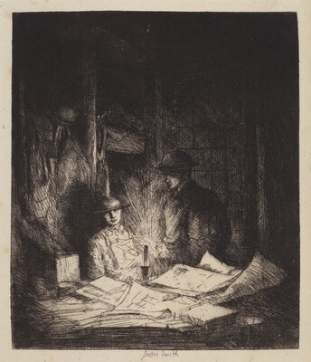 Untitled (An Officer Reading Dispatches in Candle-Lit Barracks, World War I)