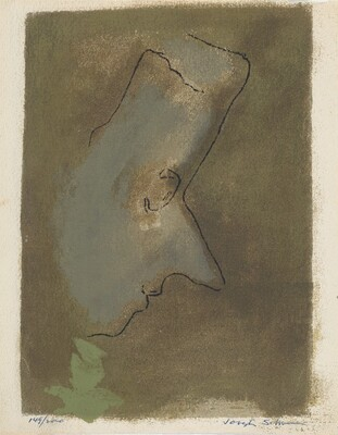 Untitled (Mozart Profile to Viewer's Right - on Dark Green Background)