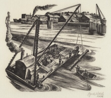 Untitled (Barge With Pipe & Deep Sea Diver)