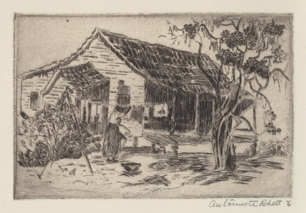 Untitled (Shack in Southern Landscape With Woman Hanging Clothes)