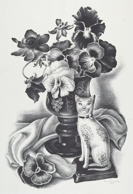 Untitled (Still Life with Flowers and China Cat)