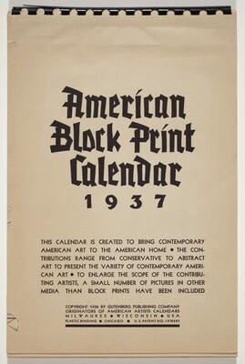 American Block Print Calendar - 1937