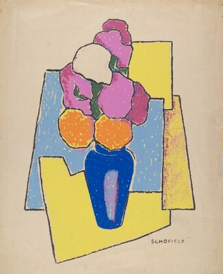Untitled (Zinnias in a Blue Vase)