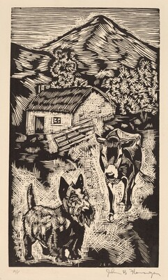 Untitled (Scottie and Cow Near Cottage in Hilly Landscape, Ireland)