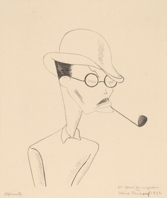 Portrait of Yasuo Kuniyoshi With Pipe