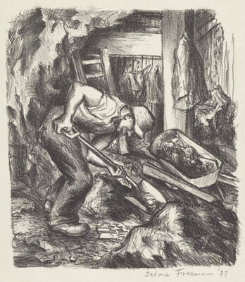Untitled (Man Digging in Cellar or Mine)
