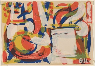 Untitled (Gestural abstraction suggesting interior with table-top still-life)