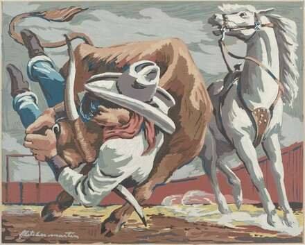 Untitled (Steer Wrestling at a Rodeo)
