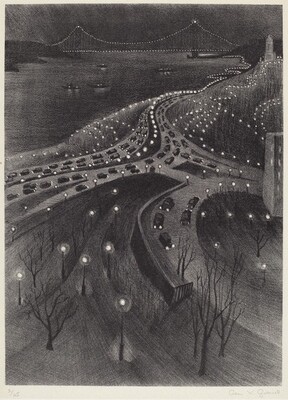 Untitled (nocturne scene of West Side Highway with George Washington Bridge)