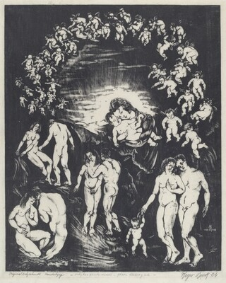Untitled (Madonna and Child Surrounded by Putti with Four Nude Couples)